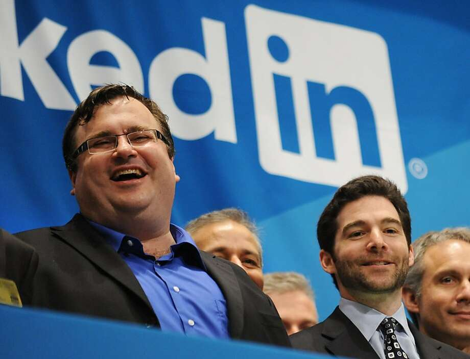 Linkedin founder Reid Garrett Hoffman (left) and CEO Jeff Weiner (right) just before ringing the opening bell of the New York Stock Exchange during the initial public offering of the company. Photo: Stan Honda, AFP/Getty Images
