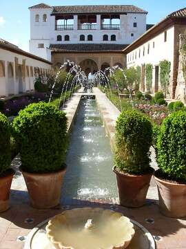 Acequia Canal and stairway at the Generalife of the Alhambra in Granada, Spain
