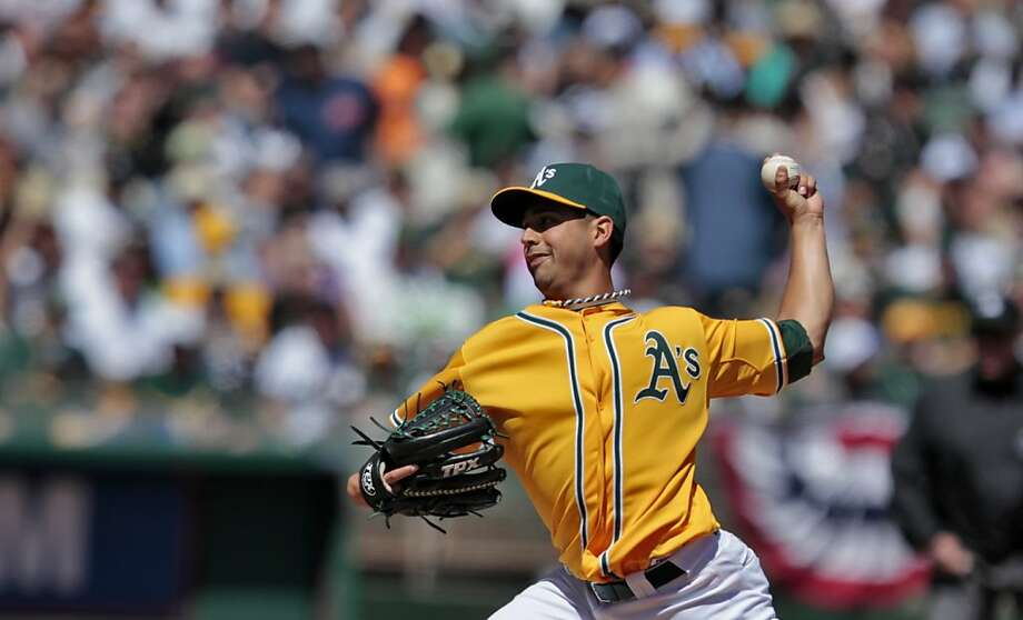 The Oakland Athletics starting pitcher Gio Gonzalez pitches against against the Seattle Mariners, Sunday April 3, 2011, in Oakland, Calif. Gonzalez got the win after the Athletics defeated the Mariners  7 to 1 in the third game of the series.   Ran on: 04-04-2011 Gio Gonzalez gave up one run over seven strong innings. Ran on: 04-04-2011 Gio Gonzalez gave up one run over seven strong innings. Photo: Lacy Atkins, The Chronicle