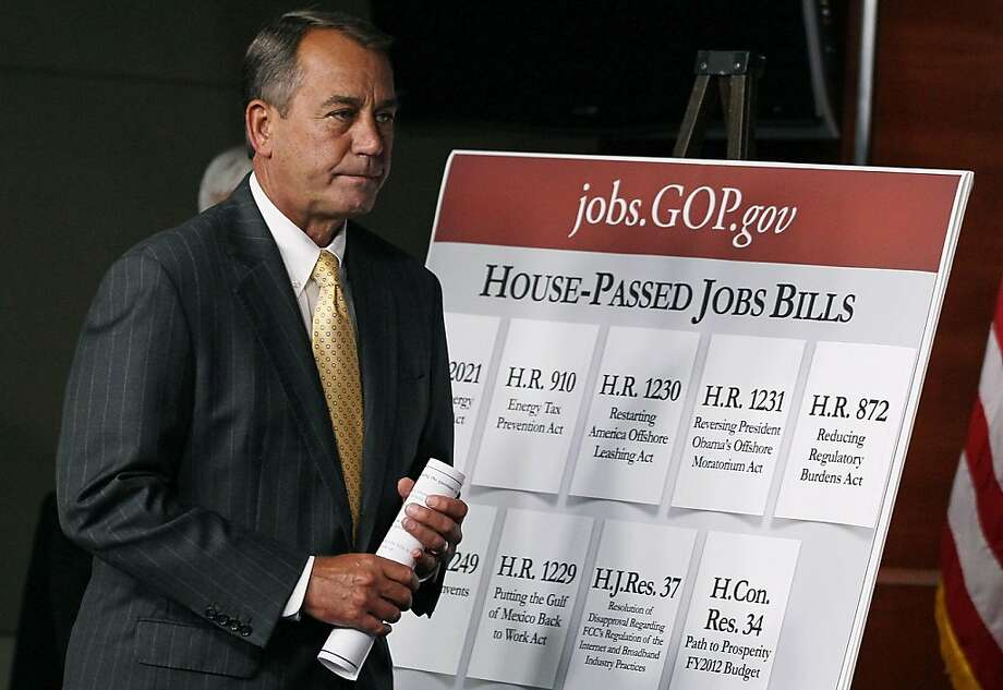 WASHINGTON, DC - JULY 08: House Speaker John Boehner (R-OH) arrives at a news conference to speak about job growth July 8, 2011 in Washington, DC. Earlier in the day the Labor Department released its monthly report that showed the US economy added jobs atan even slower pace in June than in May. Photo: Mark Wilson, Getty Images