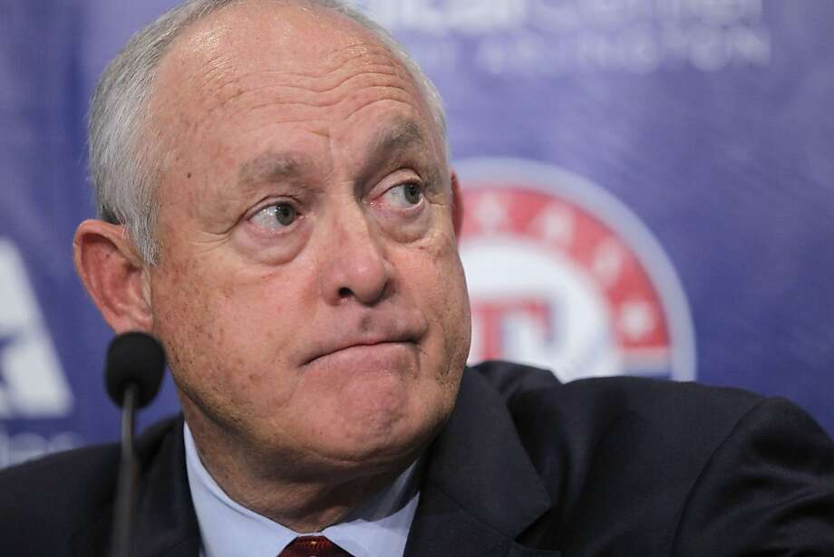 Texas Rangers CEO and President Nolan Ryan talks to reporters on Friday, July 8, 2011, about the death of firefighter Shannon Stone, who fell over a rail while reaching for a ball tossed into the stands by left fielder Josh Hamilton at Rangers Ballpark in Arlington, Texas, during the game Thursday night. (Rodger Mallison/Fort Worth Star-Telegram/MCT)  Ran on: 07-09-2011 Rangers President Nolan Ryan, a Hall of Fame pitcher, said it &quo;hits us at our roots of who we are.&quo; Ran on: 07-09-2011 Rangers President Nolan Ryan said the fan's fatal fall &quo;hits us at our roots of who we are.&quo; Photo: Rodger Mallison, MCT