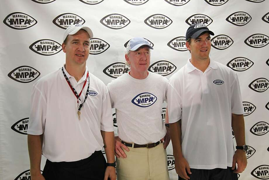 Archie Manning, center, poses with his sons Eli Manning, right, and Peyton Manning during a news conference at the Manning Passing Academy at Nicholls State University in Thibodaux, La., Friday, July 8, 2011. (AP Photo/Gerald Herbert)  Ran on: 07-09-2011 Photo caption Dummy text goes here. Dummy text goes here. Dummy text goes here. Dummy text goes here. Dummy text goes here. Dummy text goes here. Dummy text goes here. Dummy text goes here.###Photo: names09_PHmanning1309996800AP###Live Caption:Archie Manning, center, poses with his sons Eli Manning, right, and Peyton Manning during a news conference at the Manning Passing Academy at Nicholls State University in Thibodaux, La., Friday, July 8, 2011.###Caption History:Archie Manning, center, poses with his sons Eli Manning, right, and Peyton Manning during a news conference at the Manning Passing Academy at Nicholls State University in Thibodaux, La., Friday, July 8, 2011. (AP Photo-Gerald Herbert)###Notes:Archie Manning, Eli Manning, Peyton Manning###Special Instructions: Photo: Gerald Herbert, AP