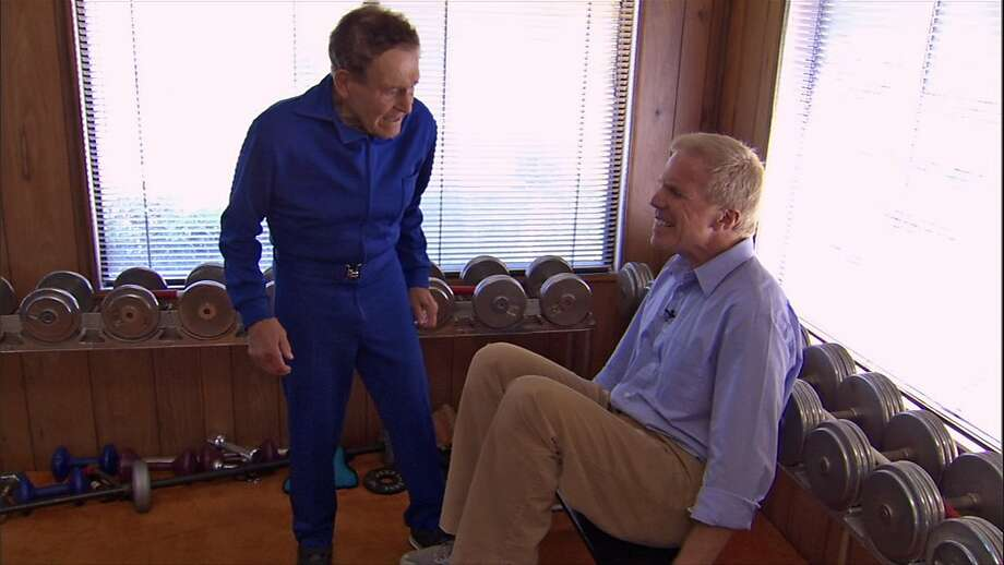 "Jack LaLanne puts Marks Wexler through a workout in, ""How to Live Forever."" Photo: Courtesy Of Variance Films/Wexla"