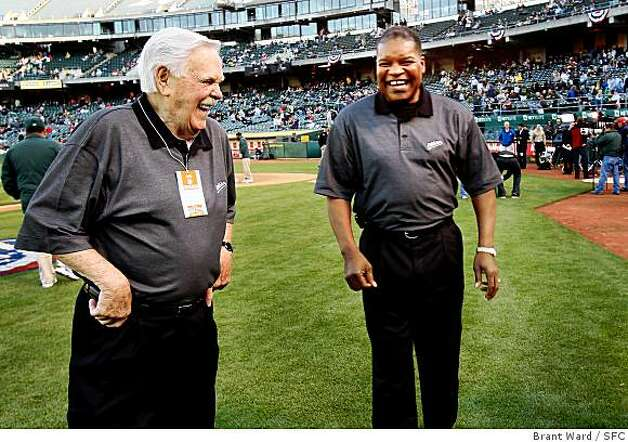 Former A's manager Dick Williams, left and former player Dave Henderson enjoyed a light moment before pre-game ceremonies. The Oakland Athletics home opener against the Boston Red Sox Tuesday, April 1, 2008.  Photo by Brant Ward / San Francisco Chronicle Photo: Brant Ward, SFC