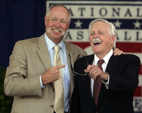 "Dick Williams, left, and Rich ""Goose"" Gossage pose after being inducted into the Baseball Hall of Fame in Cooperstown, N.Y., Sunday, July 27, 2008. (AP Photo/Mike Groll) Photo: Mike Groll, AP"