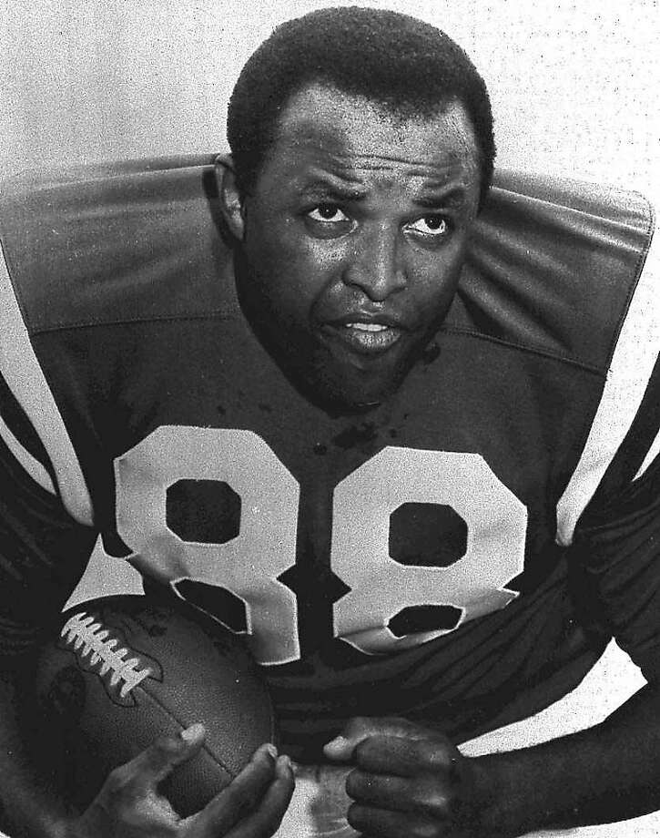 FILE - This 1969 handout provided by the Baltimore Colts, shows Colts football player John Mackey. NFL Hall of Famer John Mackey has died. He was 69. Chad Steele, a spokesman for the Baltimore Ravens, said Thursday, July 7, 2011,  that Mackey's wife had notified the team about her husband's death. Photo: AP
