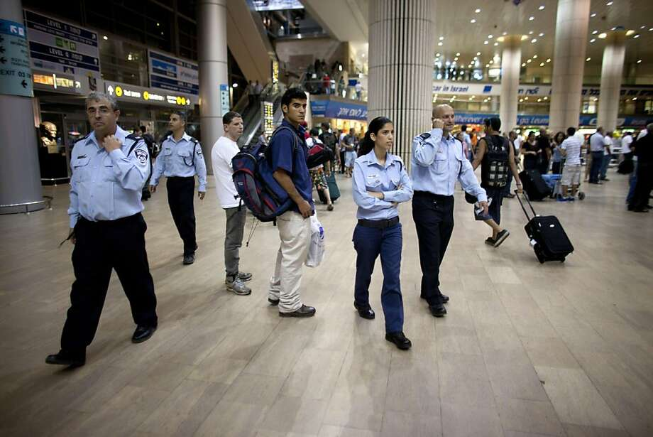 TEL AVIV, ISRAEL - JULY 07:  (ISRAEL OUT) Israeli police officers deploy at the Ben Gurion Airport on July 7, 2011 in Tel Aviv, Israel. Hundreds of European and North American pro-Palestinian activists plan to fly in to the West Bank over the weekend. Photo: Uriel Sinai, Getty Images