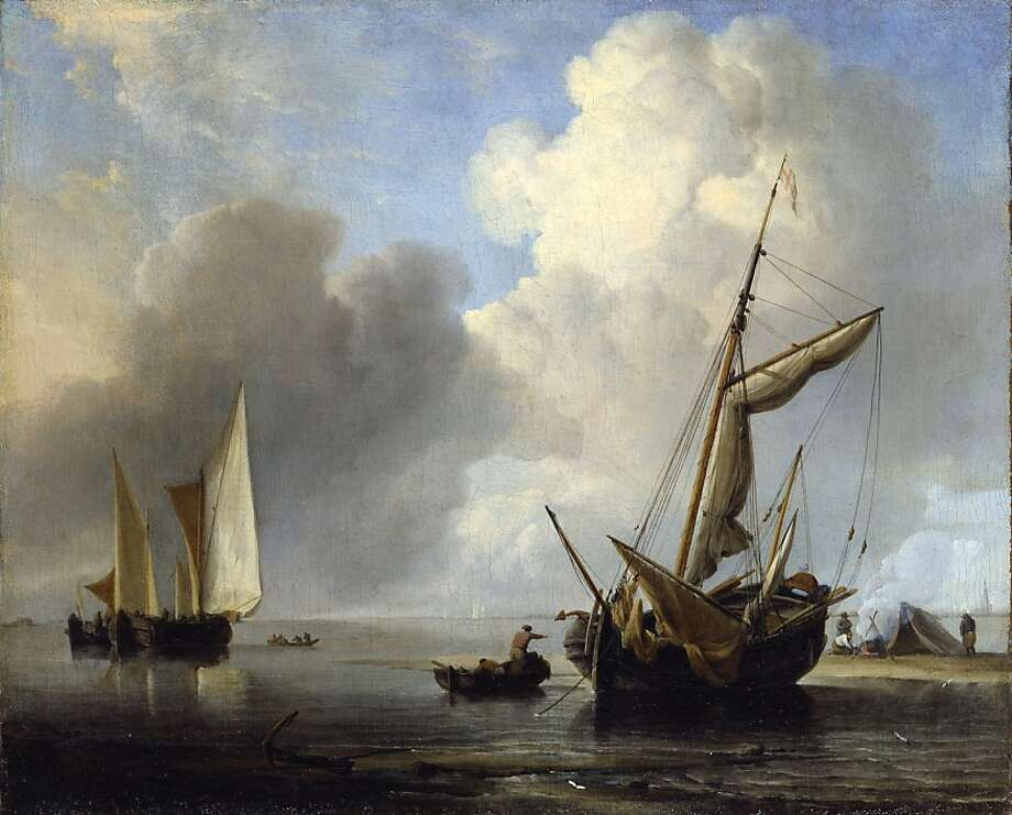 """Fishing Boats by the Shore in a Calm"" (ca. 1660–65) Oil on canvas by Willem van de Velde the Younger (1633–1707)    11 7/8 x 14 3/4 inches  Willem van de Velde the Younger (Leiden 1633-1707 London) Fishing Boats by the Shore in a Calm, ca. 1660 - 65  Oil on canvas 11 7/8 x 14 ? inches (30.1 x 37.4 cm)  The Rose-Marie and Eijk van Otterloo Collection Photo: Unknown, Fine Arts Museums Of S.f."