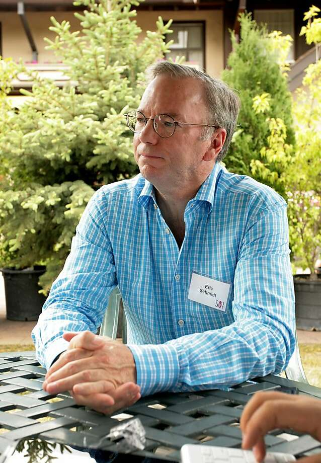 Eric Schmidt, chairman of Google Inc., speaks with members of the media at the Allen & Co. Media and Technology Conference in Sun Valley, Idaho, U.S., on Thursday, July 7, 2011. Media executives are gathering at Allen & Co.'s Sun Valley conference this week looking to shed assets such as the Hulu LLC video website and G4 game channel amid a declining global stock market and slowing economic growth. Photo: Matthew Staver, Bloomberg