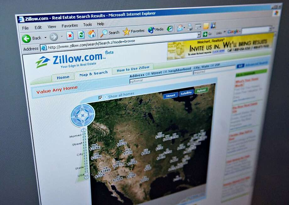 The 'Map & Search' page of the Zillow.com website is pictured on a computer screen in New York Friday, February 10, 2006.  Photographer:  Daniel Acker/Bloomberg News Photo: Daniel Acker, Bloomberg News