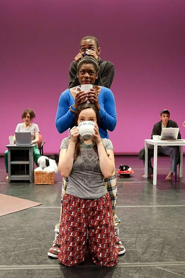 """From top: Reggie White, Calia Johnson and Juliet Heller in """"OMFG."""" Photo: Margo Moritz"""