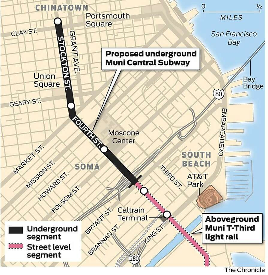 The proposed route of the Central Subway Photo: The Chronicle