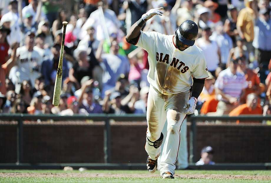SAN FRANCISCO, CA - JULY 4:  Pablo Sandoval #48 of the San Francisco Giants flips his bat after hitting a two-run home run against the San Diego Padres in the bottom of the six inning during a MLB baseball game at AT&T Park July 4, 2011 in San Francisco,California. Photo: Thearon W. Henderson, Getty Images