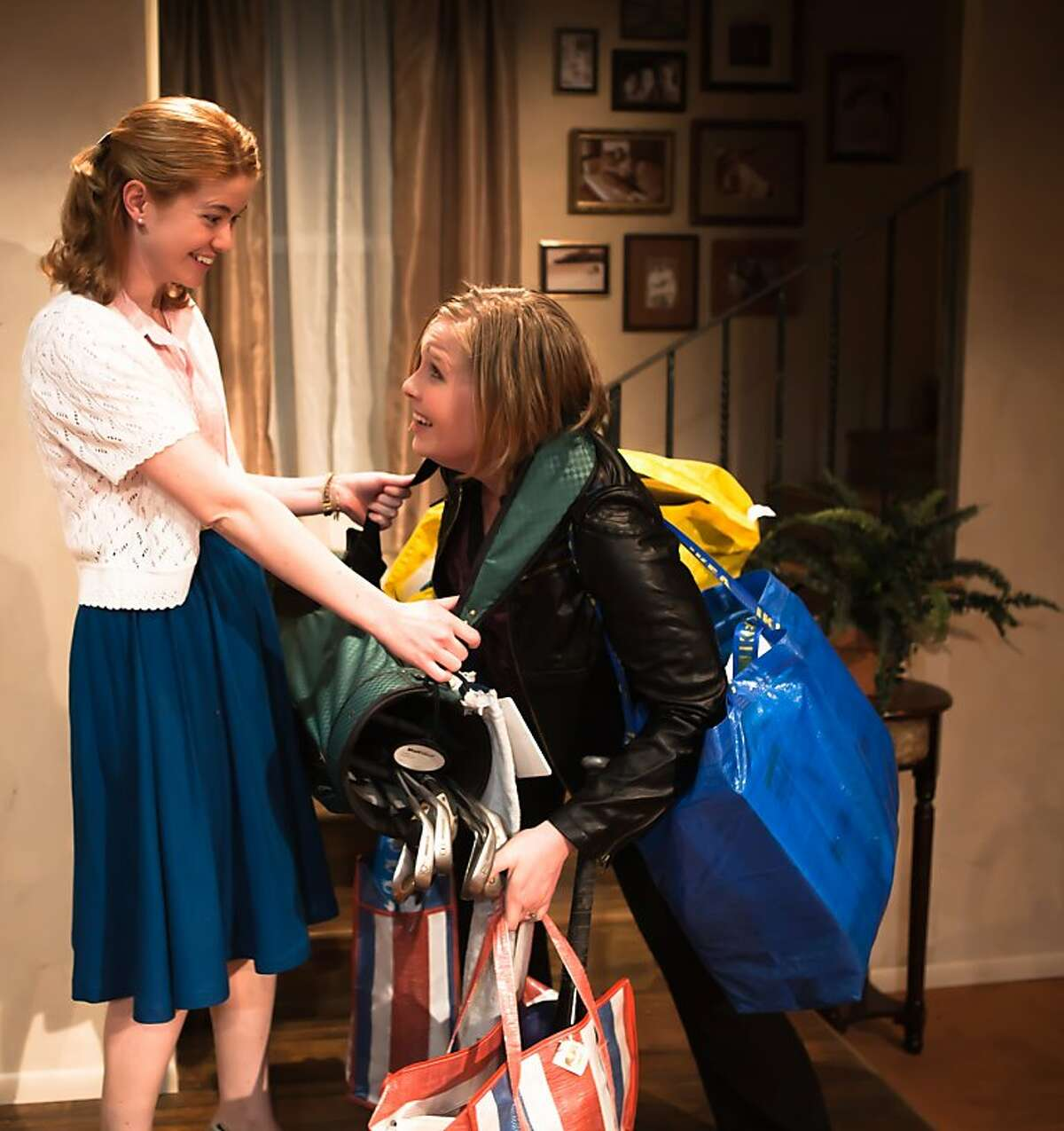 Sherry (Melissa Quine, left) helps her sister Grace (Rebecca Schweitzer) pack up and return all the items Grace stole from her ex-boyfirend in SF Playhouse's production of Kim Rosenstock's