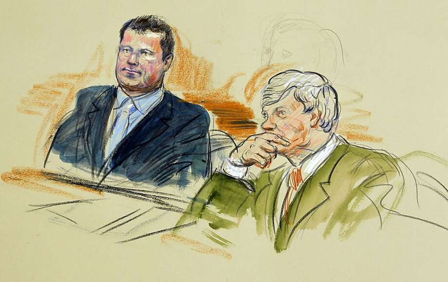 This artist rendering shows Roger Clemens, left, and his attorney Rusty Hardin in federal court in Washington, Tuesday, July 5, 2011, during his perjury trial. Photo: Dana Verkouteren), AP