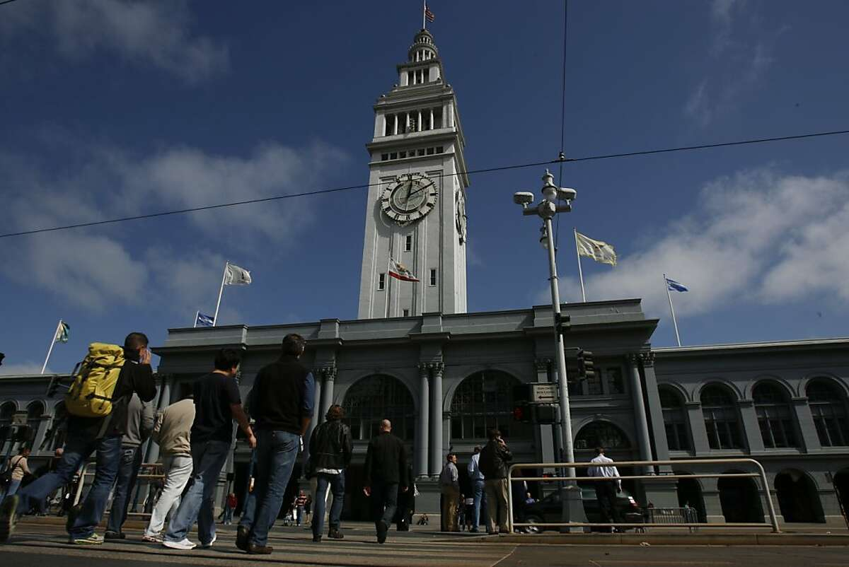 The San Francisco Ferry Building on The Embarcadero bustles with people on its first floor during lunchtime in San Francisco, Calif., on Friday, Oct. 1, 2010.