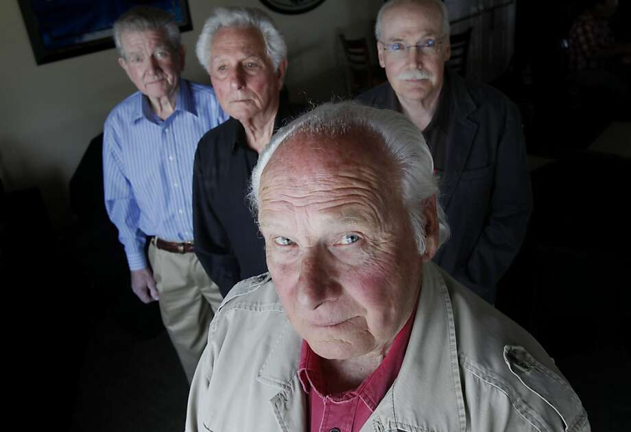 Lyndon Lafferty (foreground) and the other former law enforcement officials he says have cracked the Zodiac case.  In the background are Bob Jernigan (left), Jerry Johnson (center) and James Dean. Lyndon Lafferty, an ex-CHP officer, and several others believe they have solved the Zodiac case, fingering a 91 year old man in Fairfield, Calif. Photo: Brant Ward, The Chronicle