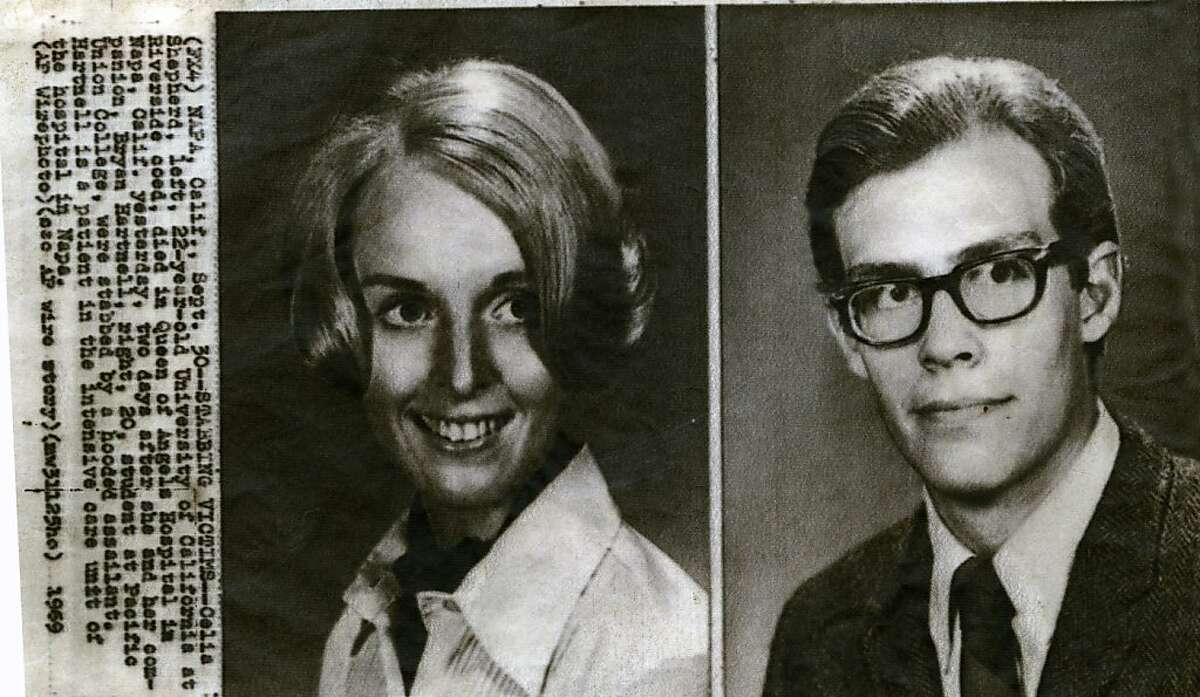 Celia Shepherd, left, and Bryan Hartnell were stabbed by a hooded assailant in September of 1969. The assailant was suspected to be the Zodiac killer. Hartnell survived the attack.