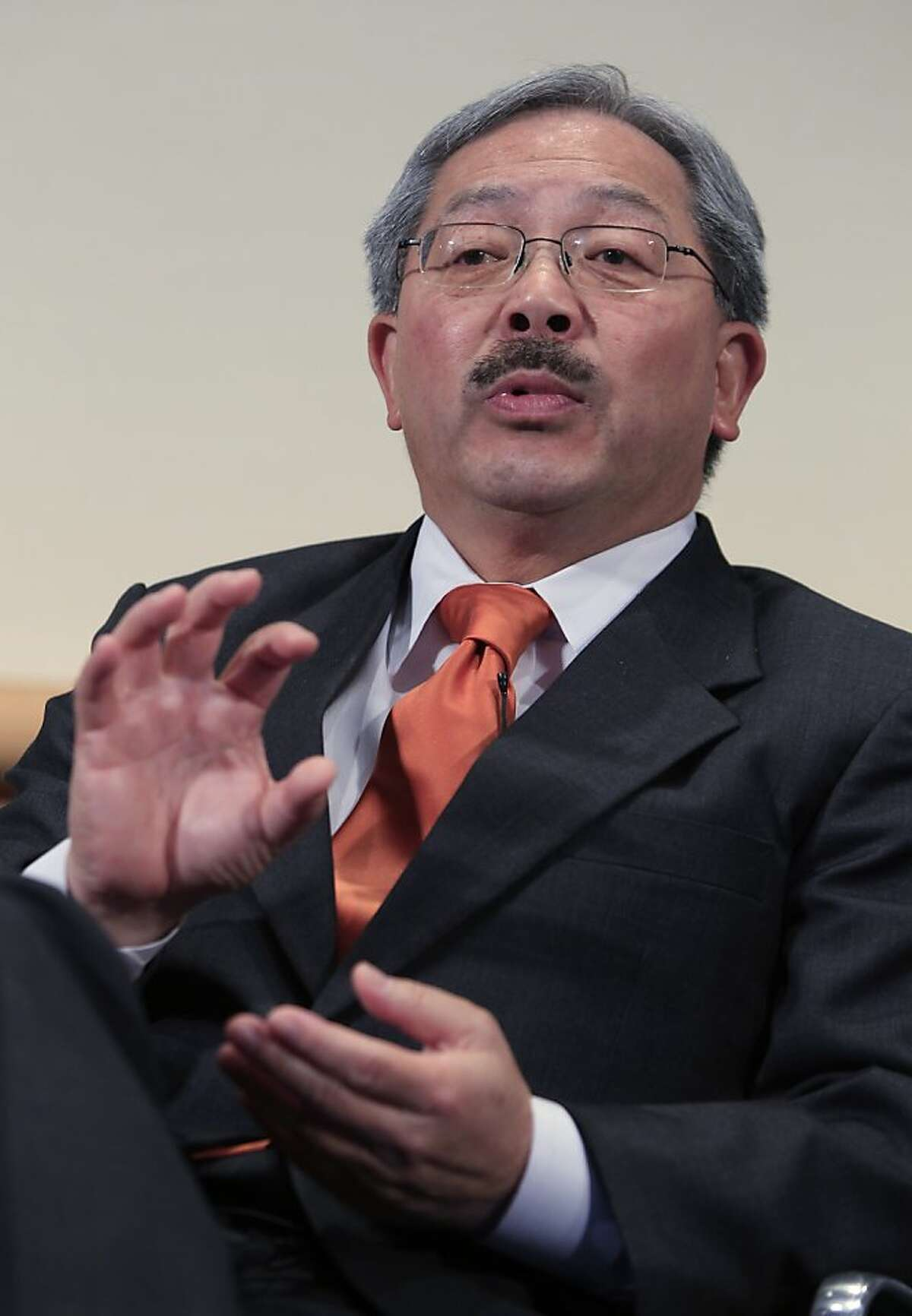 San Francisco Mayor Ed Lee gestures during the 8th Annual CEO Summit at IBM offices in San Jose, Calif., Friday, April 22, 2011.
