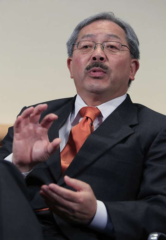 San Francisco Mayor Ed Lee gestures during the 8th Annual CEO Summit at IBM offices in San Jose, Calif., Friday, April 22, 2011. Photo: Paul Sakuma, AP