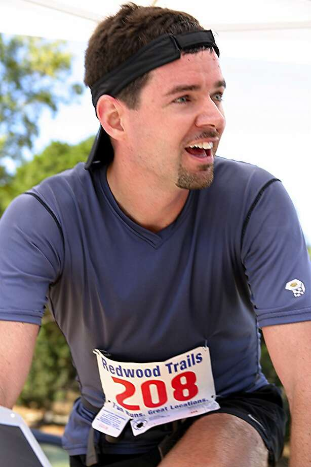 Local trail running champion Scott Dunlap takes a breather after winning the San Pablo Trail Marathon at China Camp in 2004 Photo: Handout