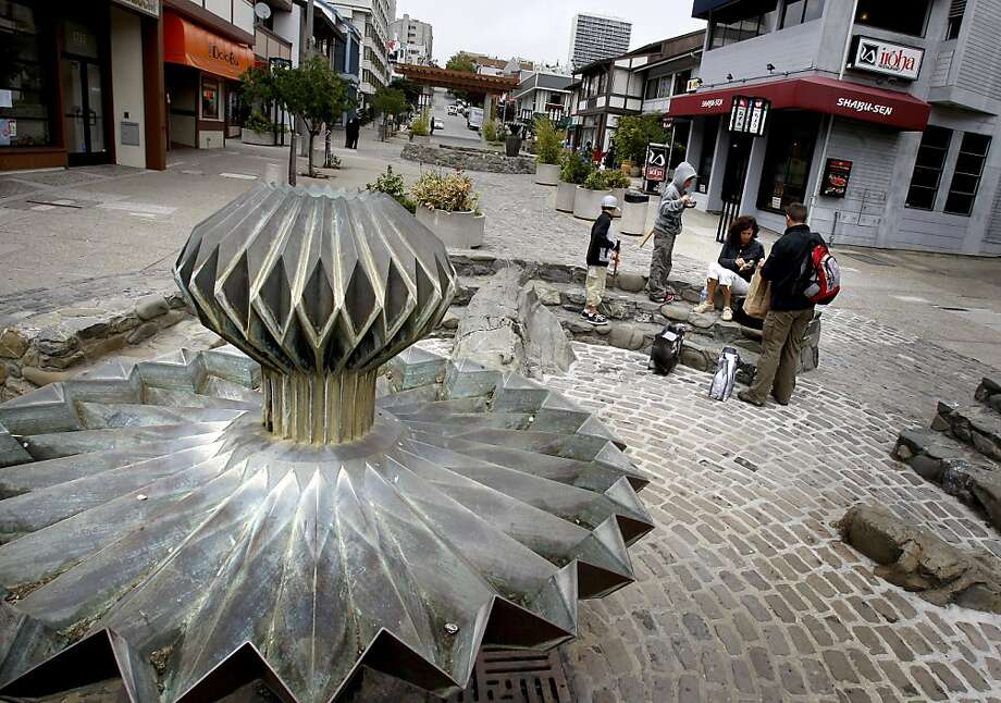 The outdoor mall on Osaka Way features the Ruth Asawa fountains. A stroll through San Francisco's Japantown takes you past exquisite Victorian homes, historical sites and elegant temples. Photo: Brant Ward, The Chronicle