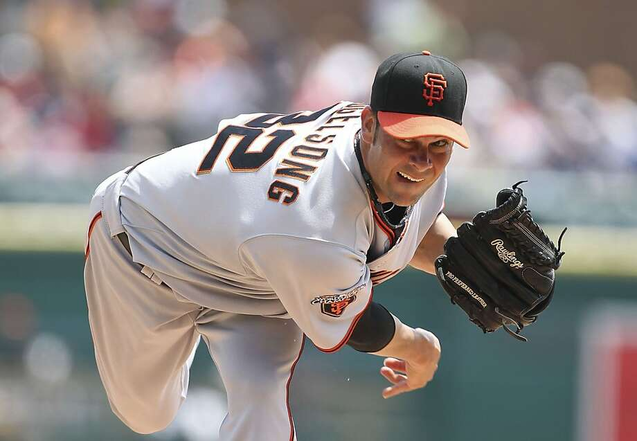 DETROIT - JULY 03: Aaron Vogelsong #32 of the San Francisco Giants pitches in the second inning during the game against the Detroit Tigers at Comerica Park on July 3, 2011 in Detroit, Michigan. Photo: Leon Halip, Getty Images