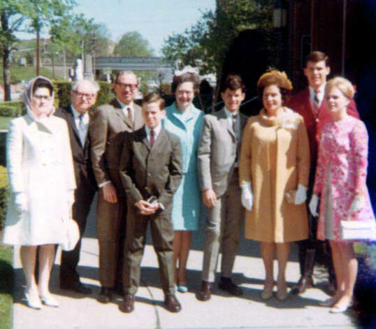 A family photo taken at Gov. Dan Malloy's eighth-grade graduation shows Dan in the front center, his father Bill behind him and his mother Agnes, third from the right. Photo: Contributed Photo