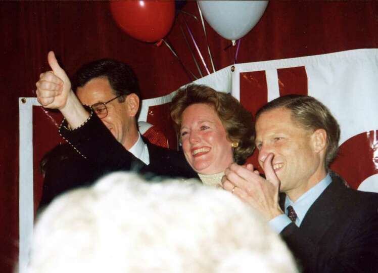 Newly elected in 1995, Stamford Mayor Dan Malloy celebrates his victory with wife Cathy and Connecti