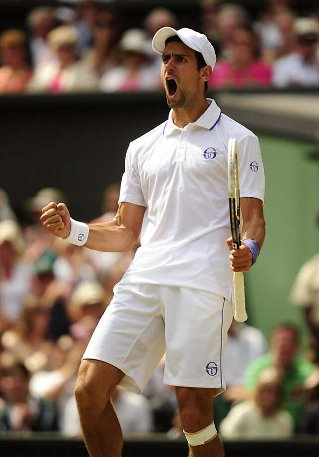 Serbia's Novak Djokovic celebrates winning the men's singles final of the Wimbledon Championships in London, England, on Sunday, July 3, 2011. (Adam Davy/PA Photos/Abaca Press/MCT) Photo: Adam Davy, MCT