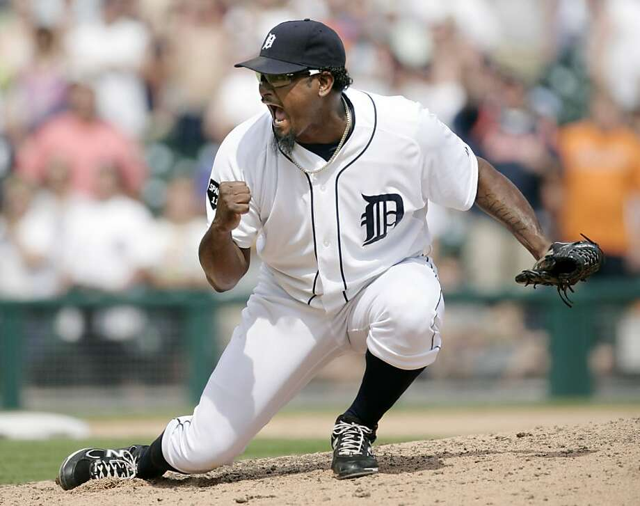 Detroit Tigers closer Jose Valverde reacts after striking out San Francisco Giants' Nate Schierholtz to end an interleague baseball game, Sunday, July 3, 2011, in Detroit. Valverde recorded his 20th save in the Tigers 6-3 win. Photo: Duane Burleson, AP