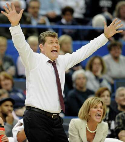 Connecticut head coach Geno Auriemma reacts in the second half of an NCAA college basketball game in Hartford, Conn., Tuesday, Dec. 6, 2011. Photo: Jessica Hill, Associated Press
