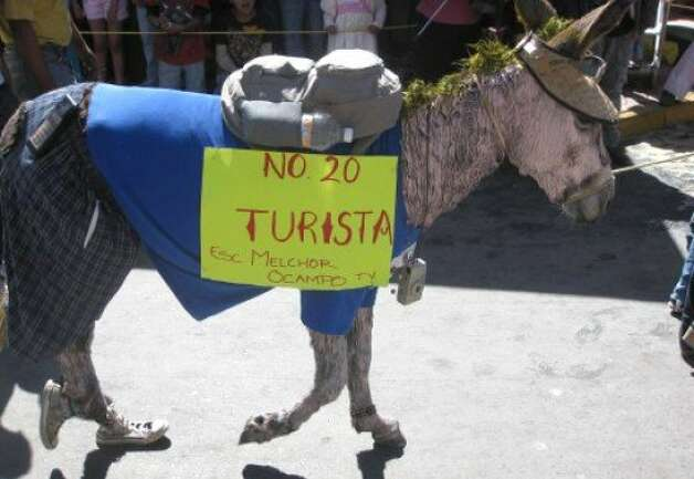 One of my favorites, the Tourist Burro. Note that his fur has been painted white, he is wearing sneakers, he has blond hair, a sun visor, a camera dangling from his neck, and a cell phone hanging off his shorts. Brilliant. Photo: Julie Carmann