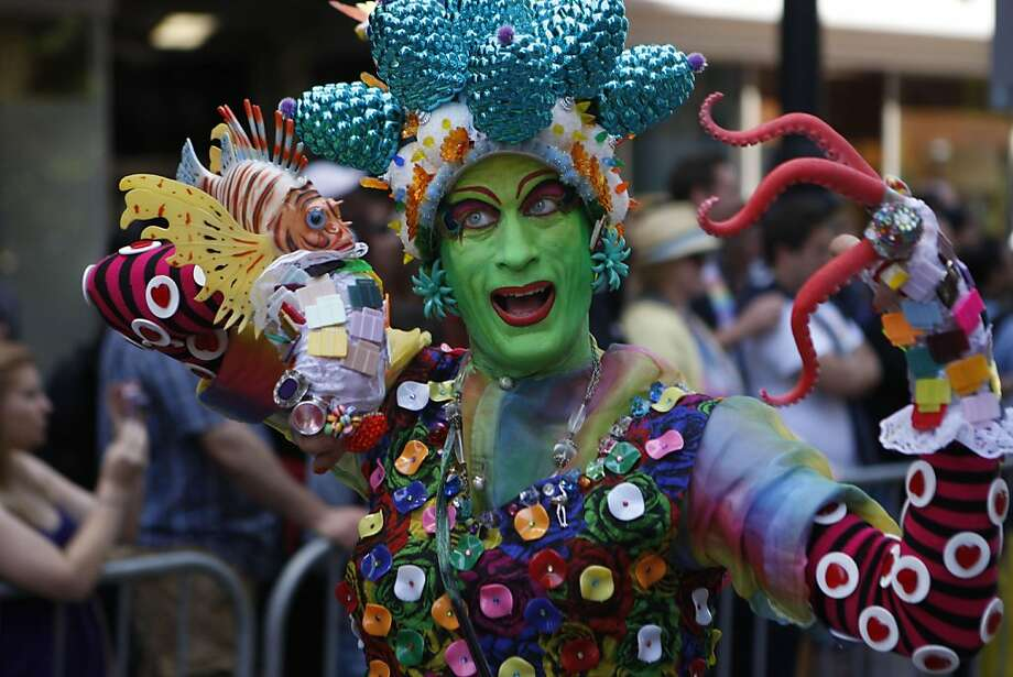 Elaborate costumes and vibrant colors add excitement and life to the San Francisco Pride Parade on Sunday. Photo: Audrey Whitmeyer-Weathers, The Chronicle