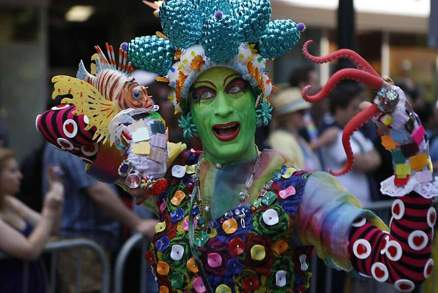 Elaborate costumes and vibrant colors add excitement and life to the San Francisco Pride Parade on S