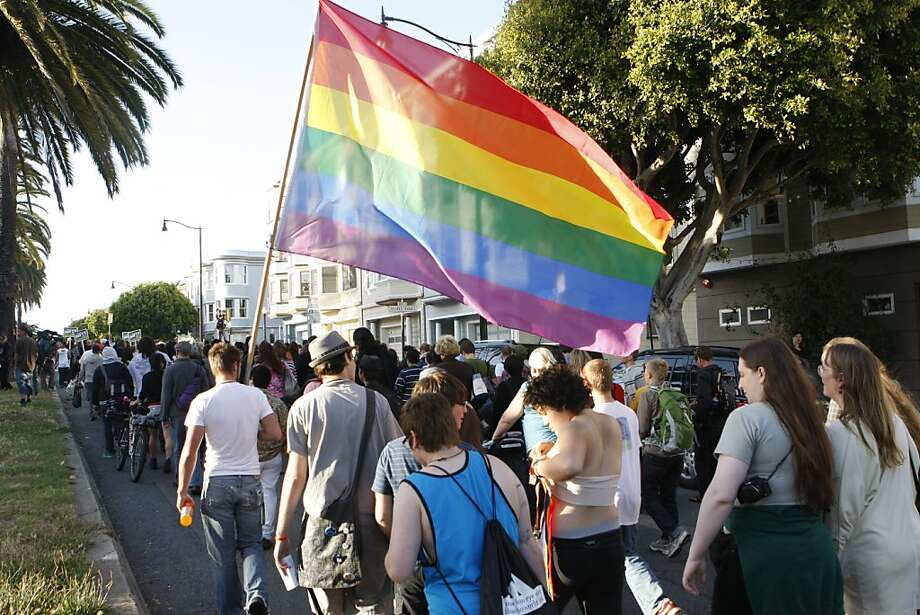 Marchers walk down Market street during the Transgender March in San Francisco, Calif., on Friday, June 24, 2011. Photo: Michelle Terris, The Chronicle