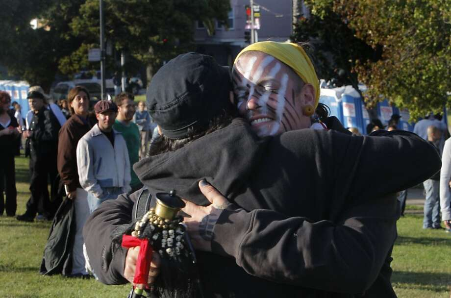 Jamie Lawson hugs a friend at Dolores Park before the Transgender March in San Francisco, Calif., on Friday, June 24, 2011. Photo: Michelle Terris, The Chronicle