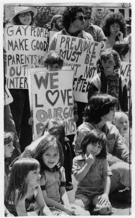 "June 3, 1977: The caption says ""Lesbian mothers demonstration at Civic Center."" This was a pre-parade rally for gay parents, including Jeanne Jullion, a lesbian who was fighting for custody of her kids and later wrote a book about the ordeal. Note that the Chronicle photographer is Joe Rosenthal, who more than 30 years earlier shot his famous flag-raising at Iwo Jima photo. Photo: Joe Rosenthal, The Chronicle, 1977"