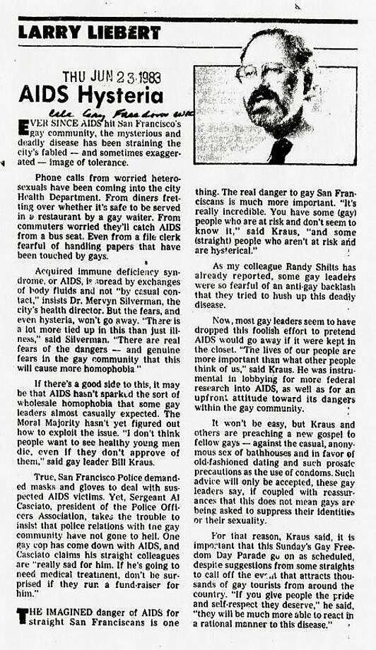 "June 23, 1983: Another insightful Larry Liebert piece. There were talks in the early 1980s about canceling the parade because of the AIDS crisis. This line from Bill Kraus says it all ""You have some (gay) people who are at risk and don't seem to know it,and some (straight) people who aren't at risk and are hysterical."" Photo: The Chronicle"