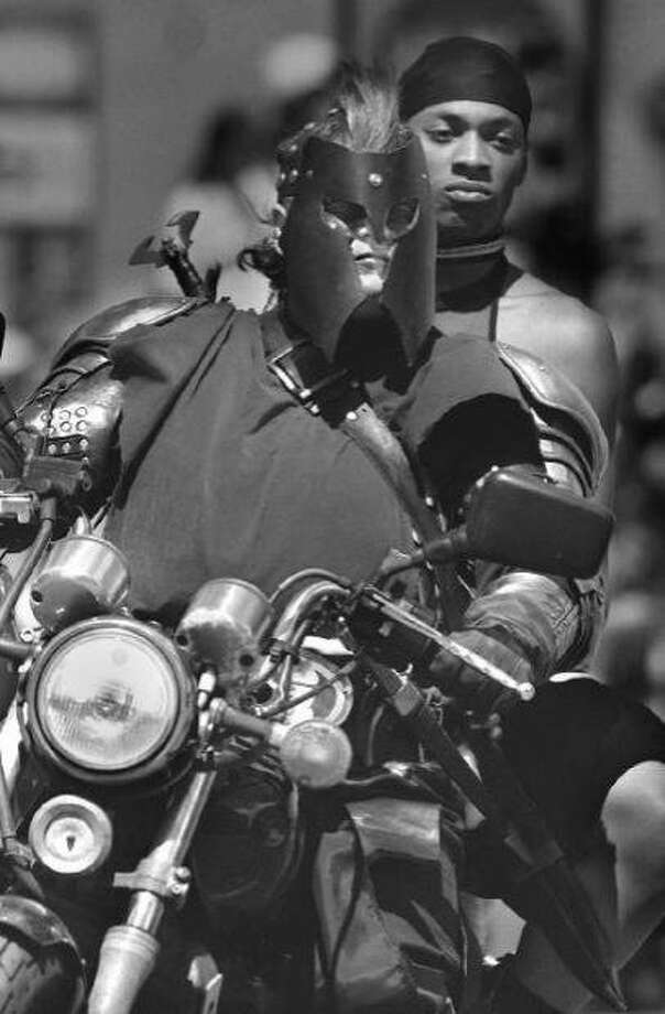 June 18, 1995: This photo shot by my colleague Michael Macor comes after my established time frame. But I couldn't find any Women's Motorcycle Contingent photos from the 1980s or 70s. And as far as I'm concerned, it's not a Pride parade without one. Photo: Michael Macor, The Chronicle, 1995
