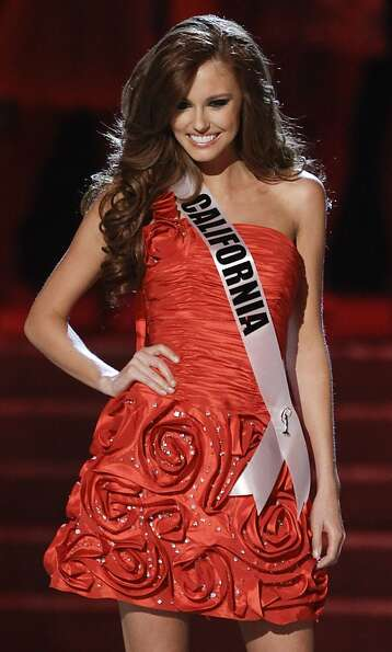 Alyssa Campanella, Miss California, is introduced as one of the quarterfinals in the Miss USA pagean