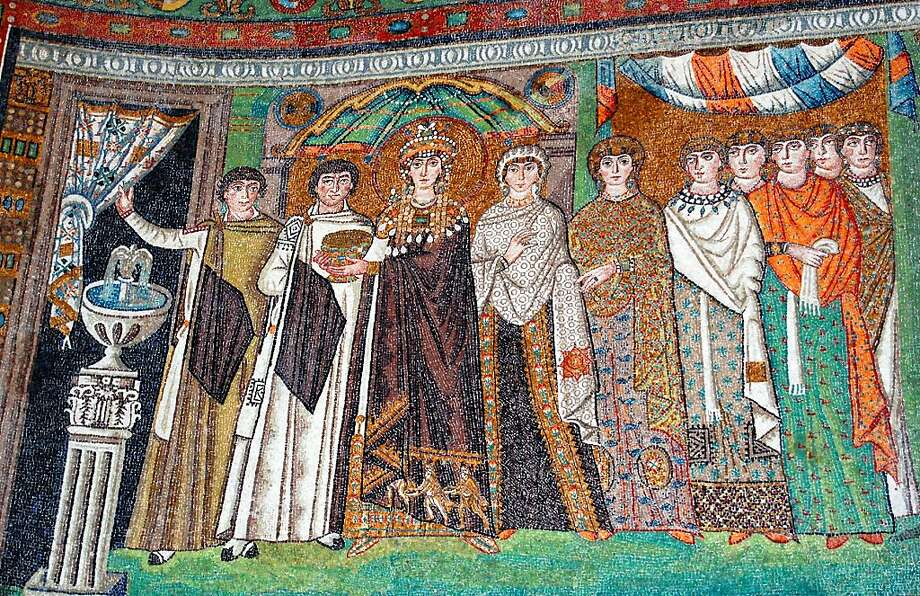 In Ravenna's Basilica di San Vitale, viewers with binoculars can pick out details, such as the Three Magi, in the mosaics. Photo: Rick Steves