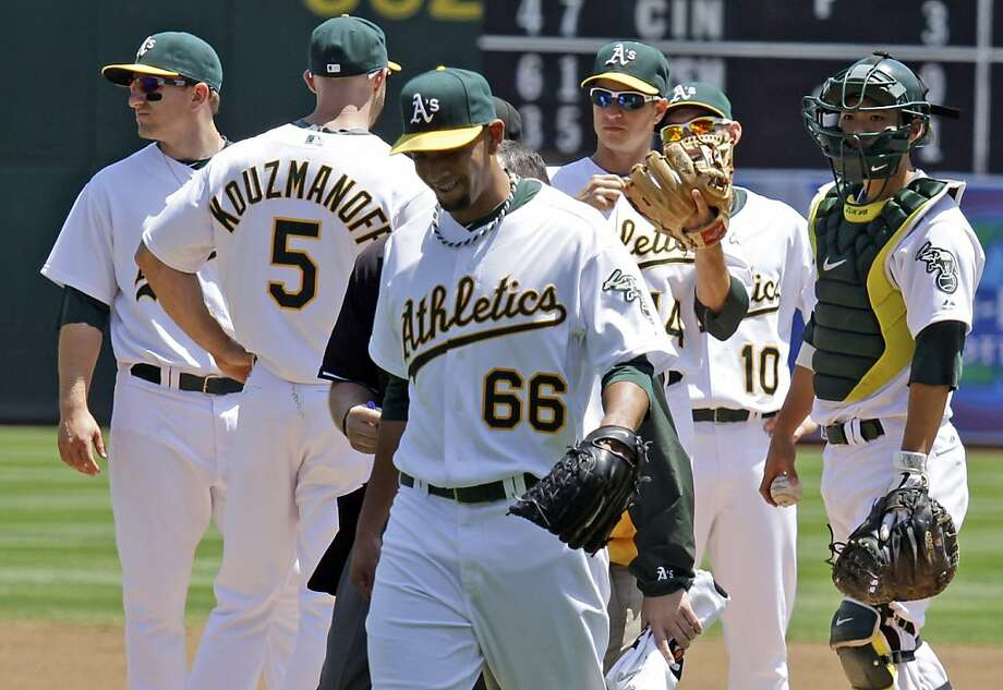 Oakland Athletics relief pitcher Tyson Ross leaves the game with an injury during the first inning of a baseball game against the Minnesota Twins in Oakland, Calif., Thursday, May 19, 2011. Photo: Eric Risberg, AP