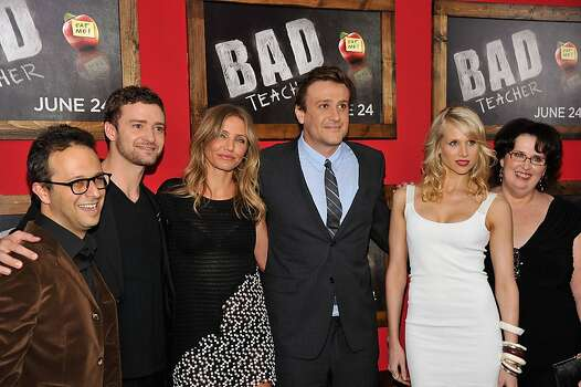 "NEW YORK, NY - JUNE 20:  (L-R) Director Jake Kasdan and actors Justin Timberlake; Cameron Diaz, Lucy Punch and Phyllis Smith attend the premiere of ""Bad Teacher"" at the Ziegfeld Theatre on June 20, 2011 in New York City. Photo: Stephen Lovekin, Getty Images"