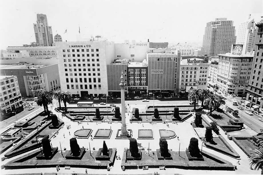 Macy's and I Magnin & Co once anchored Union Square in San Francisco. Date not specified on photo. Early 1980s?Macy's and I Magnin & Co once anchored Union Square in San Francisco. Date not specified on photo. Early 1980s? Photo: The Chronicle Archives