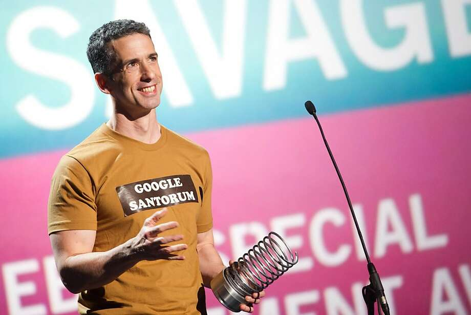 Dan Savage appears onstage at the 15th Annual Webby Awards, Monday, June 13, 2011, in New York. Photo: Charles Sykes, AP