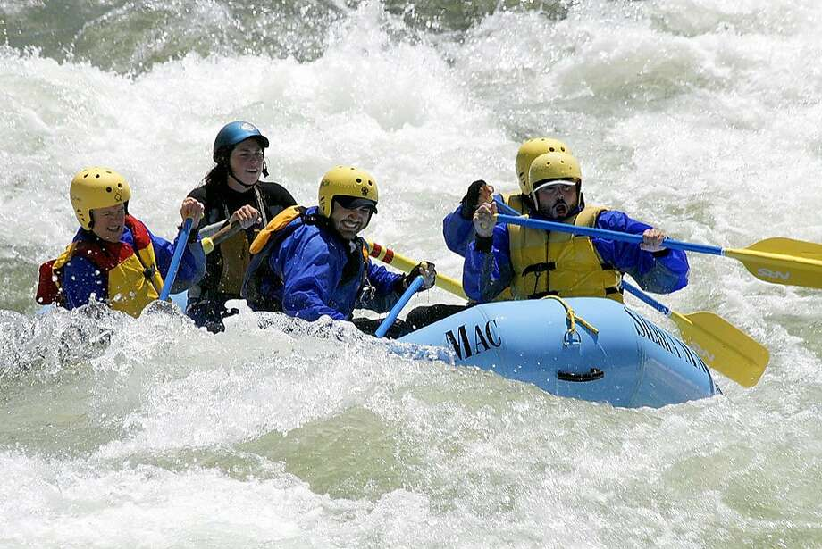 Rafters on the Tuolumne at Clavey Falls, Tuolumne river confluence at about 4,500 cfs in 2010. Photo: Marty McDonnell, Sierra Mac River Trips