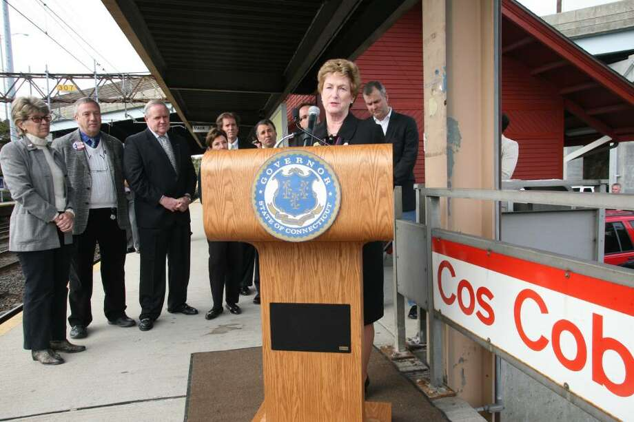 Connecticut governor Jodi Rell gave a speech at the Cos Cob train station Friday morning outlining the states use of stimulus funds to help improve  service on the line. Photo: David Ames / Greenwich Time