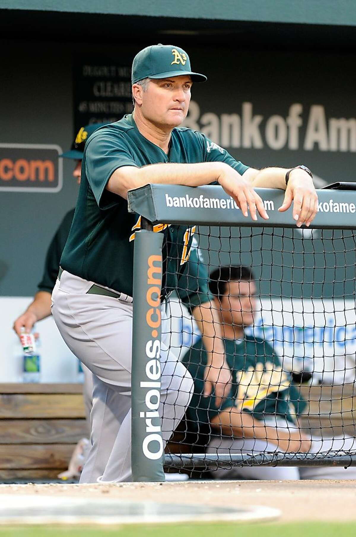 FILE - Manager Bob Geren #17 of the Oakland Athletics watches the game against the Baltimore Orioles at Oriole Park at Camden Yards on June 6, 2011 in Baltimore, Maryland.