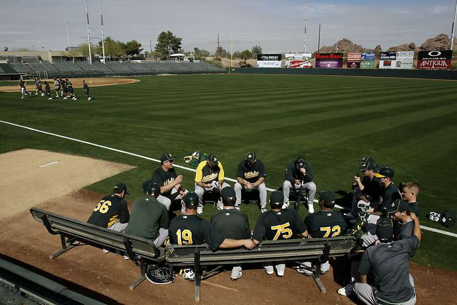 Oakland Athletics manager Bob Geren, top left, talks to pitchers at the team's spring training baseball facility in Phoenix, Wednesday, Feb. 16, 2011. Photo: Marcio Jose Sanchez, AP